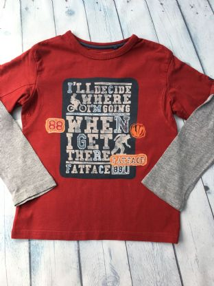 FatFace long sleeve layered red and grey top age 6-7